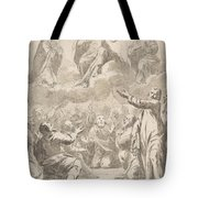 The Risen Christ Between The Virgin And St. Joseph Appearing To St. Peter And Other Apostles Tote Bag