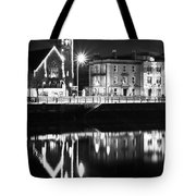 The River Liffey Reflections Bw Tote Bag