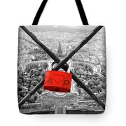 The Romantically Love Inscribed Padlocks On The Eiffel Tower, Pa Tote Bag