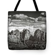 The Rugged Red Rocks In Black And White  Tote Bag