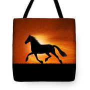 The Running Horse Background Tote Bag