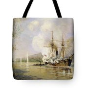 The Russian Destroyer Shutka Attacking A Turkish Ship On The 16th June 1877 Tote Bag