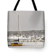 The Sailboat Korovin Is Moored In A Mostly Frozen Stage Harbor I Tote Bag