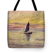The Sailing Boat Evening Effect Tote Bag
