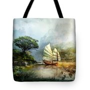 Sailing Boat In The Lake Tote Bag
