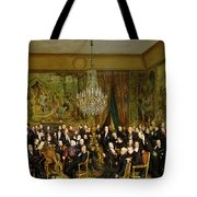 The Salon Of Alfred Emilien At The Louvre Tote Bag by Francois Auguste Biard
