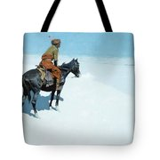 The Scout Friends Or Foes Tote Bag by Frederic Remington