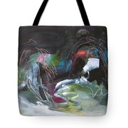 The Secret Of The Shadow Original Abstract Colorful Landscape Painting For Sale Red Blue Green Tote Bag