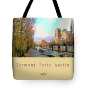 The Seine And Quay Beside Notre Dame, Autumn Cover Art Tote Bag