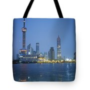 The Shanghai Skyline And Riverfront Tote Bag