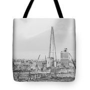 The Shard Outline Poster Bw Tote Bag