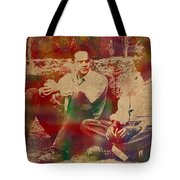 The Shawshank Redemption Movie Inspired Watercolor Portrait Of Tim Robbins And Morgan Freeman On Worn Distressed Canvas Tote Bag
