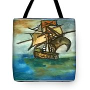 The Ship Plying On The River Tote Bag