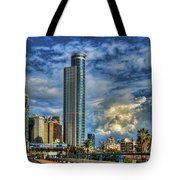 The Skyscraper And Low Clouds Dance Tote Bag