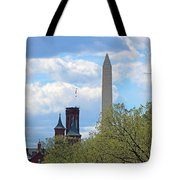 The Smithsonian Castle And Washington Monument In Green Tote Bag
