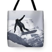 The Snowboard Championships Were Held Tote Bag