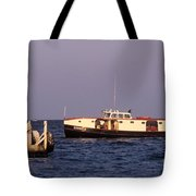 The Sonny S Ferry Docking At Middlebass Island Tote Bag