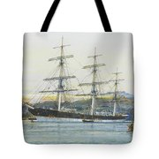 The Square-rigged Australian Clipper Old Kensington Lying On Her Mooring Tote Bag