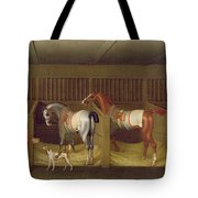 The Stables And Two Famous Running Horses Belonging To His Grace - The Duke Of Bolton Tote Bag