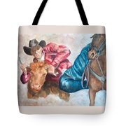 The Steer Wrestler Tote Bag