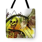 The Still Life With A Winter Rose Flower In A Macabre Style. Tote Bag