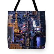the Strip at night, Las Vegas Tote Bag