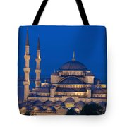 The Sultanahmet Or Blue Mosque At Dusk Tote Bag