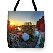 The Sun Rising By Motif 1 In Rockport Ma Bearskin Neck Lobster Traps Tote Bag