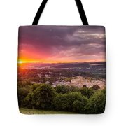 The Sun Sets Over Hexham Tote Bag