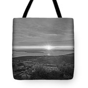 The Sunrise From Cadillac Mountain In Acadia National Park Black And White Tote Bag