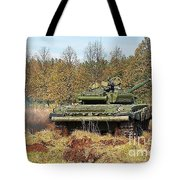 The Tank T-72 In Movement Tote Bag