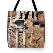 The Temple Of Castor And Pollux At The Forum From The Palatine Tote Bag