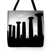 The Temple Of Hercules. Agrigento, Sicily.    Black And White Tote Bag