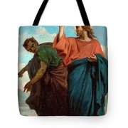The Temptation Of Christ By The Devil Tote Bag
