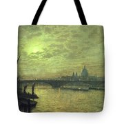 The Thames By Moonlight With Southwark Bridge Tote Bag
