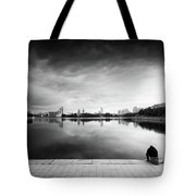 The Thinker And The Lake Tote Bag
