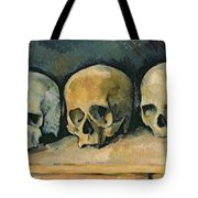 The Three Skulls Tote Bag by Paul Cezanne