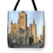 The Three Towers Of Gent Tote Bag by Marilyn Dunlap