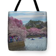 The Tidal Basin During The Washington D.c. Cherry Blossom Festival Tote Bag