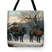 The Timber Wagon In Winter Tote Bag by Anonymous