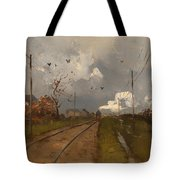 The Train Is Arriving Tote Bag