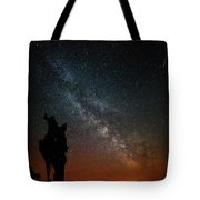 The Trunk Of A Dead Tree, Milky Way And Meteor Tote Bag