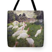 The Turkeys At The Chateau De Rottembourg Tote Bag by Claude Monet
