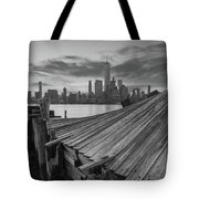 The Twisted Pier Panorama Bw Tote Bag