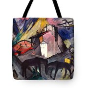 The Unfortunate Land Of Tyrol Franz Marc Painting Of Horses In A Valley Near A Cemetery  Tote Bag