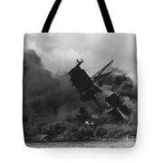 The Uss Arizona Bb-39 Burning After The Japanese Attack On Pearl Harbor Tote Bag