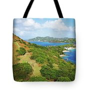 The View From Fort Rodney On Pigeon Island Gros Islet Blue Water Tote Bag