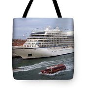 The Viking Star Cruise Liner In Venice Italy Tote Bag