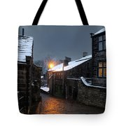 The Village Of Heptonstall In The Snow At Night With Lamps Shini Tote Bag