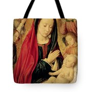 The Virgin And Child Adored By Angels  Tote Bag by Jean Hey